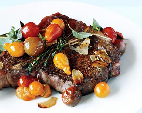 Porterhouse Steak with Pan Seared Cherry Tomatoes