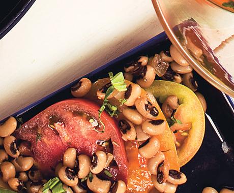 Heirloom Tomatoes with Shell Beans Vinaigrette
