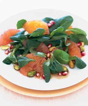 Mâche Salad with Blood Oranges, Pistachios, and Pomegranate