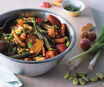 Roasted Potato and Okra Salad