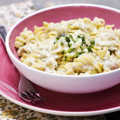 Pasta with Creamy Poblano Chile Sauce