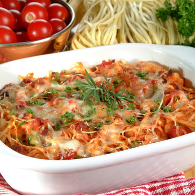 Linguine, Bacon and Tomato Casserole