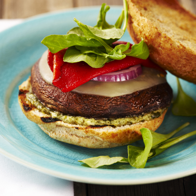 Grilled Portobello Burgers with Pesto Mayo