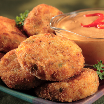 Potato and Ham Croquettes with Roasted Red Pepper Sauce