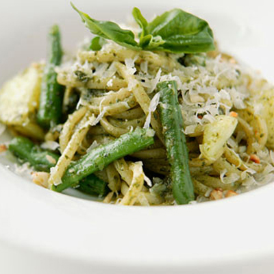 Pesto Linguine with Green Beans & Artichoke Hearts