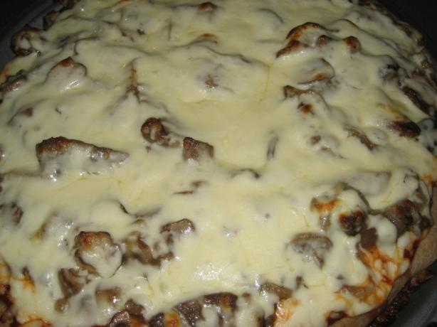 Steak, Mushroom, and Onion Pizza