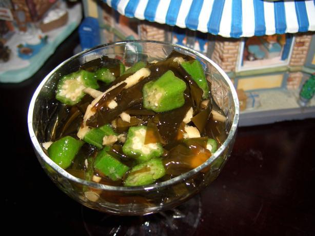 Wakame Seaweed and Okra Sunomono