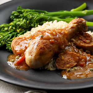 Catalan Saute of Chicken with Sausage, Capers & Herbs