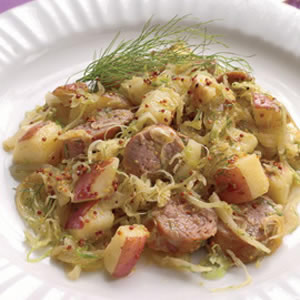 Turkey Sausage with Fennel Sauerkraut & Potatoes