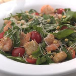 Warm Shrimp & Arugula Salad