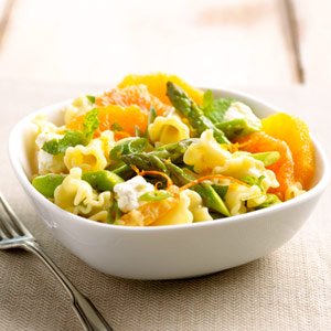 Orange Mint and Asparagus Pasta Salad