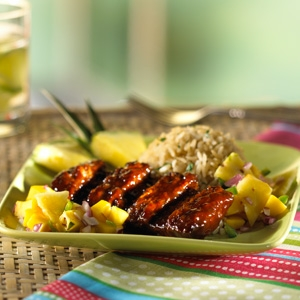 Barbecue Riblets with Mango-Pineapple Salsa