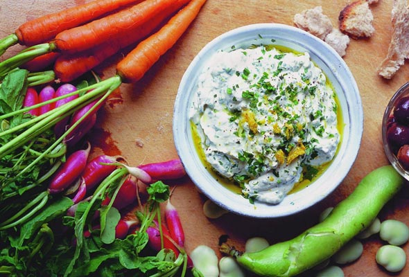 Herbed Ricotta Dip with Spring Vegetables Recipe