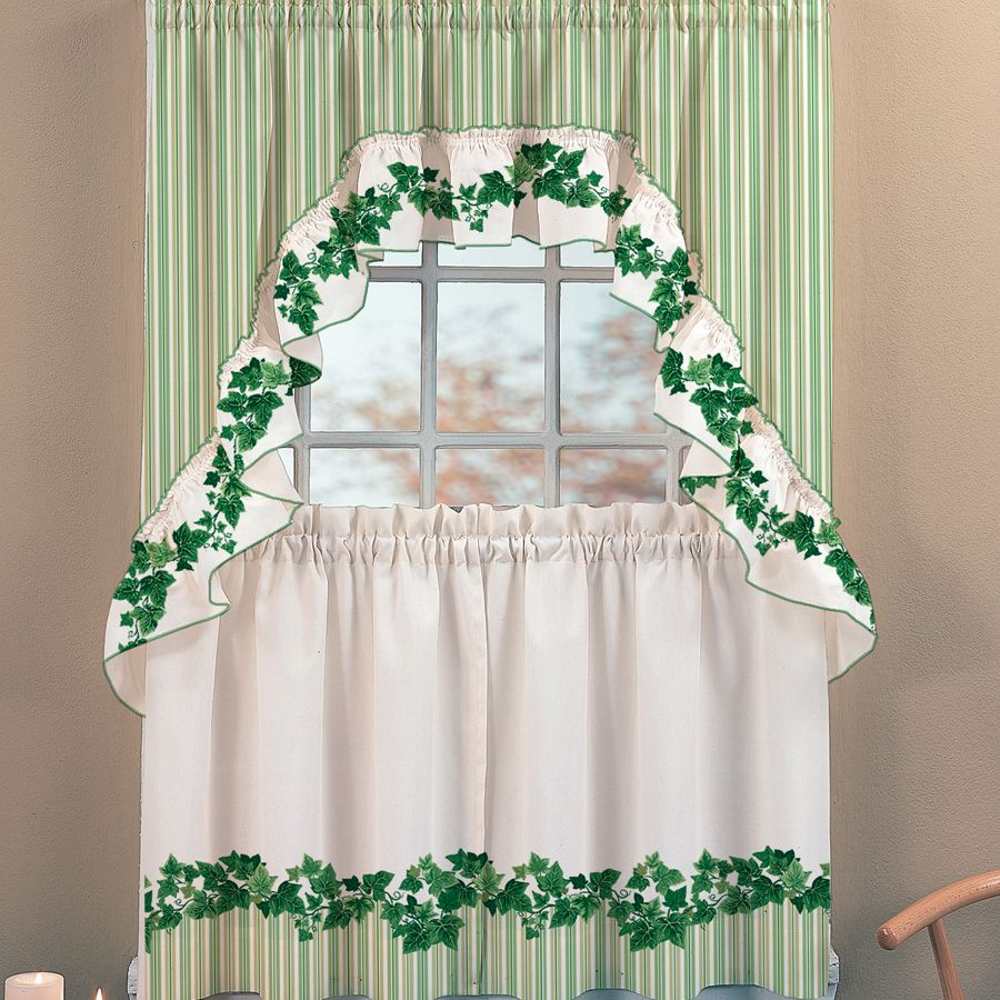 Cottage Ivy Vine Print Kitchen Curtain Set Kitchen Curtains