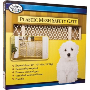 Four Paws Wooden Frame with Plastic Mesh Safety Gate: Wooden Gate - (Expands 26 - 42 Wide x 24 Tall ) #57130 - Wood Dog Gates Best Price