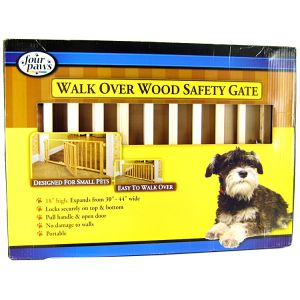 Four Paws Walk Over Wood Safety Gate with Door: 30-44 Wide x 18 Tall #57218 - Wood Dog Gates Best Price