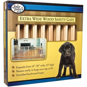 Four Paws Extra Wide Wood Safety Gate: Extra Wide Wood Safety Gate - (53 - 96 Wide x 24 Tall) #57220 - Wood Dog Gates Best Price