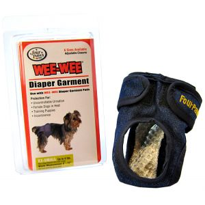Four Paws Wee Wee Diaper Garment: XX-Small - (Waist 6-12 - Up to 4 lbs) #18890 - Dog Diapers and Garments Best Price