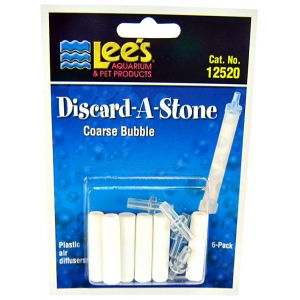Lees Discard-A-Stone Diffuser: Coarse 6 Pack - (6 Stones / 4 Inserts) #12520 - Aquarium Airstones