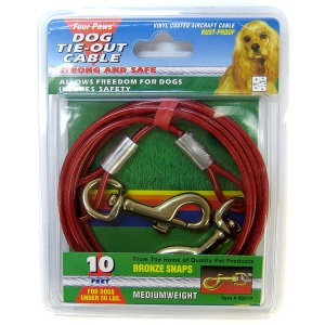 Four Paws Tie Out Cable - Medium Weight: 10 Foot Cable