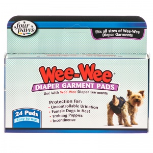 Four Paws Wee Wee Diaper Garment Pads 24 Pads - Dog Diapers and Garments Best Price