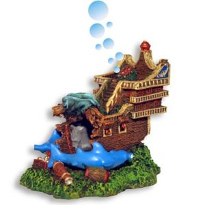 Blue Ribbon Pet Products Shark Shipwreck Pirate Island Bubbler (5.75