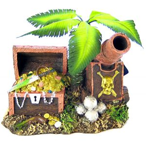 Blue Ribbon Pet Products Treasure Chest & Palm Tree Pirate Island Bubb