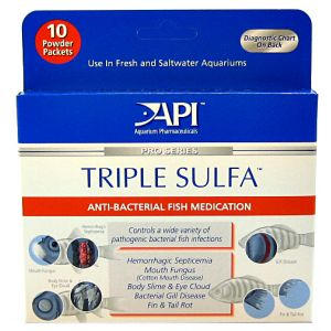 Aquarium Pharmaceuticals Triple Sulfa Powder: Triple Sulfa Powder - 10pk #50P - Bacterial and Fungal Aquarium Medications Best Price