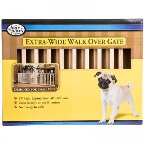 Four Paws Extra-Wide Walk Over Gate - Wood Dog Gates Best Price