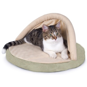 KandH Pet Beds Thermo Kitty Hut: Sage #3083 - Heated Cat Beds Best Price
