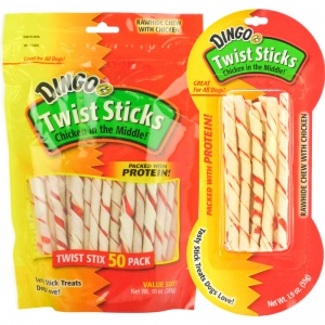 Dingo Chip Twists Meat in the Middle - Rawhide Dog Treats Best Price