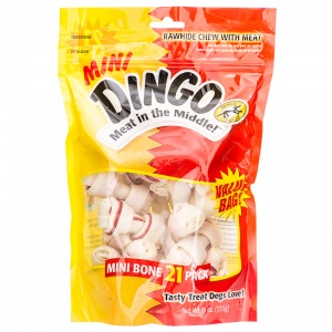 Dingo Mini Meat in the Middle Rawhide Bones: 21 Pack #95001 - Rawhide Dog Treats Best Price