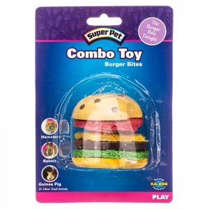 Super Pet Combo Toy - Crispy and Wood Hamburger: Combo Toy - Crispy and Wood Hamburger - 1 Pack #62041 - Small Pet Chew Toys Best Price