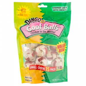 Dingo Goof Balls Chicken in the Middle: Small - (15 Pack) #95015 - Rawhide Dog Treats Best Price