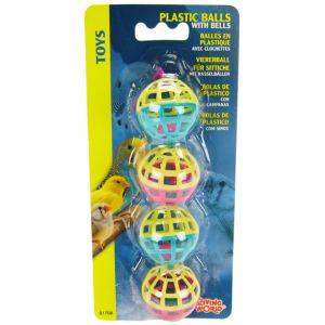 Living World 4 Plastic Balls with Bells #81708 - Bird Toys Best Price