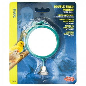 Living World Double-Sided Large Round Mirror with Bell #81752 - Bird Toys Best Price