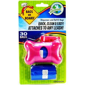 Bags on Board Bags On Board Pink Bone Dispenser #3203910404 - Dog Poop Pickup Bag Dispensers Best Price