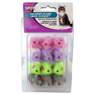 Spotnips Fur Mice 12 Pack Colored #2048 - Cat Mice Toys Best Price