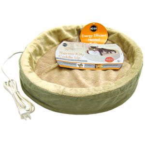 KandH Pet Beds Thermo Kitty Cuddle Up - 16 Diameter: Sage - (16 Diameter) #3703 - Heated Cat Beds Best Price