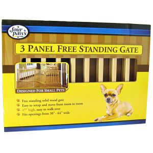 Four Paws Free Standing Gate for Small Pets: 3 Panel Free Standing Gate - (Fits Openings 30 - 64 Wide) #57203 - Wood Dog Gates