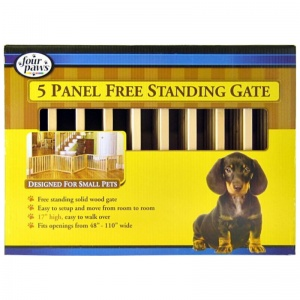 Four Paws Free Standing Gate for Small Pets: 5 Panel Free Standing Gate - (Fits Openings 48 - 110 Wide) #57205 - Wood Dog Gates Best Price