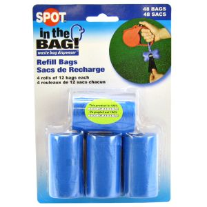 Spot In The Bag Refill Bags: 48 bags - 4 rolls x 12 bags per roll #98406 - Dog Poop Pickup Bags Best Price