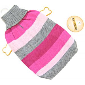Fashion Pet Best In Stripe Sweater - Pink: Small #510PSM - Dog Sweaters Best Price