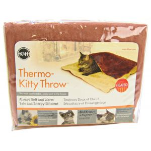 KandH Pet Beds Thermo-Kitty Throw - Rust and Cream - Heated Cat Beds Best Price