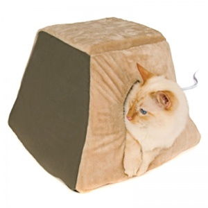 KandH Pet Beds Thermo-Kitty Cabin - Sage - Heated Cat Beds Best Price