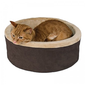 KandH Pet Beds Thermo-Kitty Bed - 16 Diameter: Mocha #3191 - Heated Cat Beds Best Price