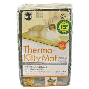 KandH Pet Beds Thermo-Kitty Mat - 12.5 x 25 x .5 - Heated Cat Beds Best Price