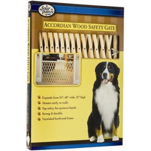Four Paws Accordian Wood Safety Gate: Wood Expansion Gate - (24-60W x 32H) #57210 - Wood Dog Gates Best Price