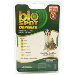 Bio Spot Defense Spot On Flea and Tick Control for Dogs: 3 Month Supply Medium Dogs 32-55 lbs #100504291 - Flea and Tick Drops for Dogs Best Price