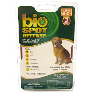 Bio Spot Defense Spot On Flea and Tick Control for Dogs: 3 Month Supply Large Dogs 56-80 lbs #100504293 - Flea and Tick Drops for Dogs